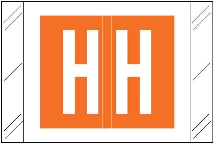 Tabbies 12000 Match CRAM Series Alpha Roll Labels - Letter H - Orange Label