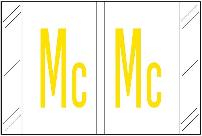 Tabbies 12000 Match CRAM Series Alpha Roll Labels - Letter Mc - White Label