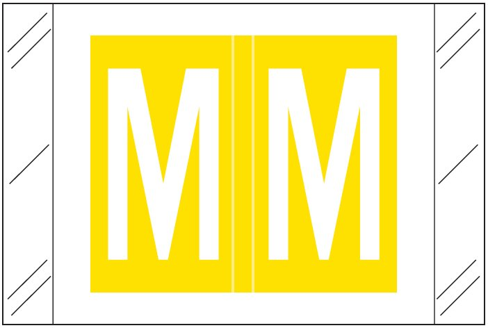 Tabbies 12000 Match CRAM Series Alpha Roll Labels - Letter M - Yellow Label