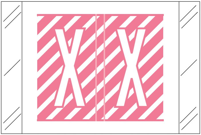 Tabbies 12000 Match CRAM Series Alpha Roll Labels - Letter X - Pink and White Label