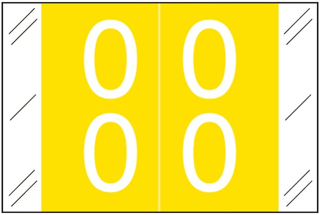 Tabbies 11200 Match CRDM Series Numeric Roll Labels - Number 00 To 09 - Yellow