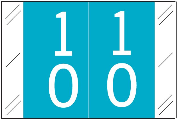 Tabbies 11200 Match CRDM Series Numeric Roll Labels - Number 10 To 19 - Light Blue