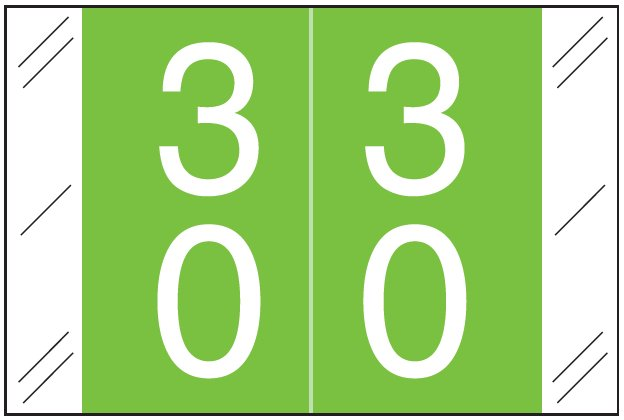 Tabbies 11200 Match CRDM Series Numeric Roll Labels - Number 30 To 39 - Light Green