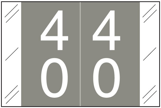 Tabbies 11200 Match CRDM Series Numeric Roll Labels - Number 40 To 49 - Gray