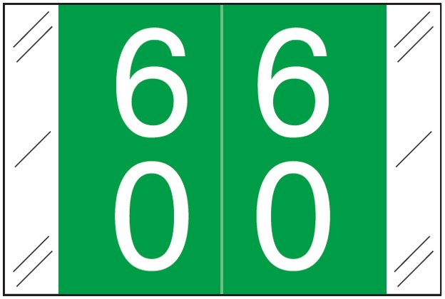 Tabbies 11200 Match CRDM Series Numeric Roll Labels - Number 60 To 69 - Dark Green