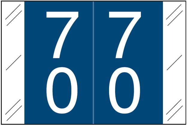Tabbies 11200 Match CRDM Series Numeric Roll Labels - Number 70 To 79 - Dark Blue
