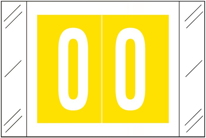 Tabbies 11000 Match CRNM Series Numeric Roll Labels - Number 0 - Yellow