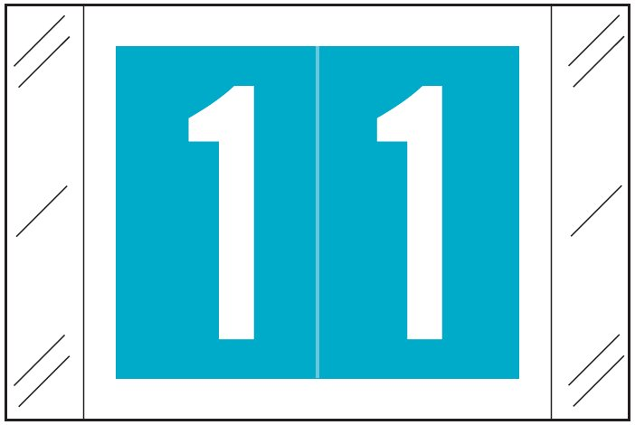 Tabbies 11000 Match CRNM Series Numeric Roll Labels - Number 1 - Light Blue