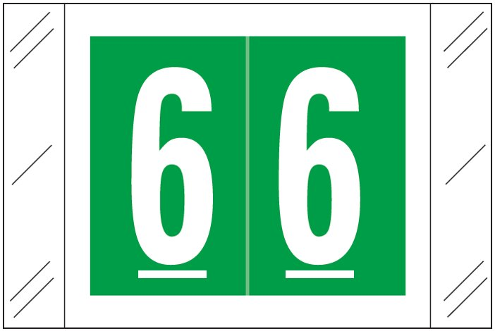 Tabbies 11000 Match CRNM Series Numeric Roll Labels - Number 6 - Dark Green