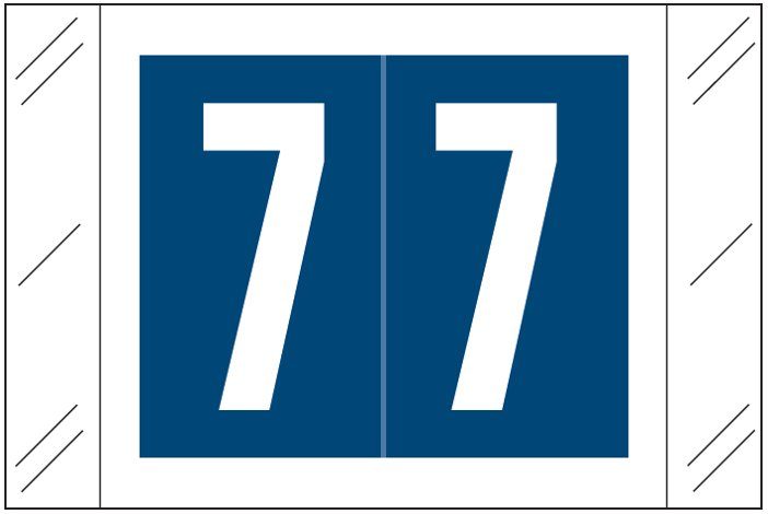 Tabbies 11000 Match CRNM Series Numeric Roll Labels - Number 7 - Dark Blue