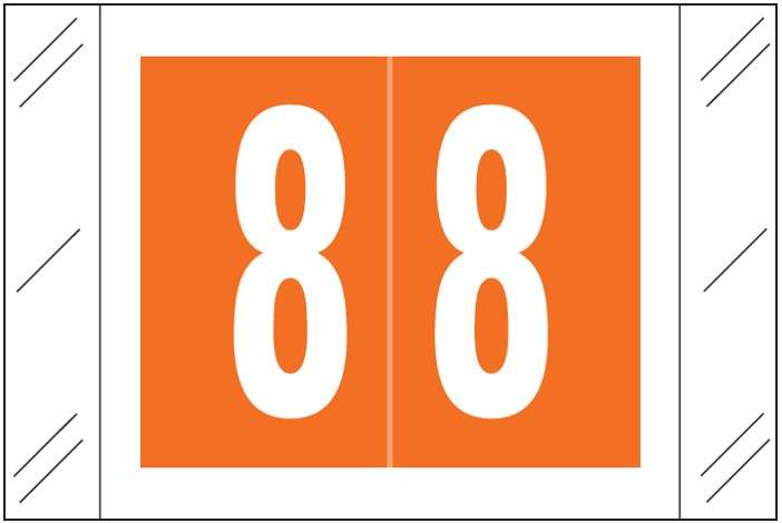 Tabbies 11000 Match CRNM Series Numeric Roll Labels - Number 8 - Orange