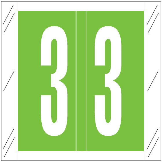 Barkley FNSRM Match CSNM Series Numeric Roll Labels - Number 3 - Light Green