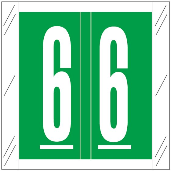 Barkley FNSRM Match CSNM Series Numeric Roll Labels - Number 6 - Dark Green