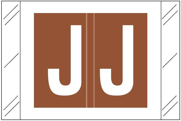 Barkley FASTM Match CTAM Series Alpha Roll Labels - Letter J - Brown Label