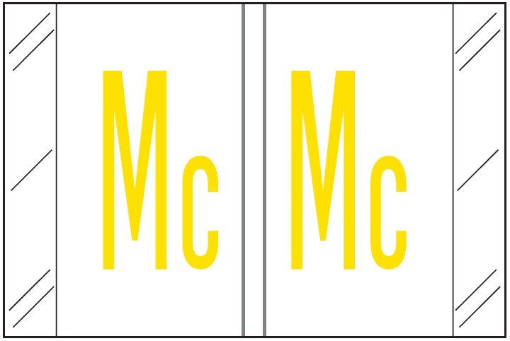 Barkley FASTM Match CTAM Series Alpha Roll Labels - Letter Mc - White Label