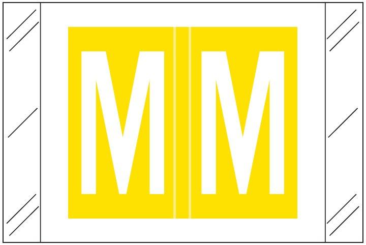 Barkley FASTM Match CTAM Series Alpha Roll Labels - Letter M - Yellow Label