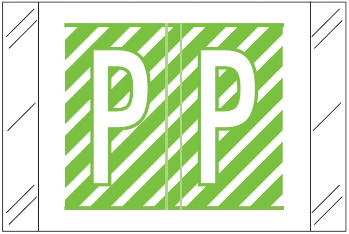 Barkley FASTM Match CTAM Series Alpha Roll Labels - Letter P - Light Green and White Label