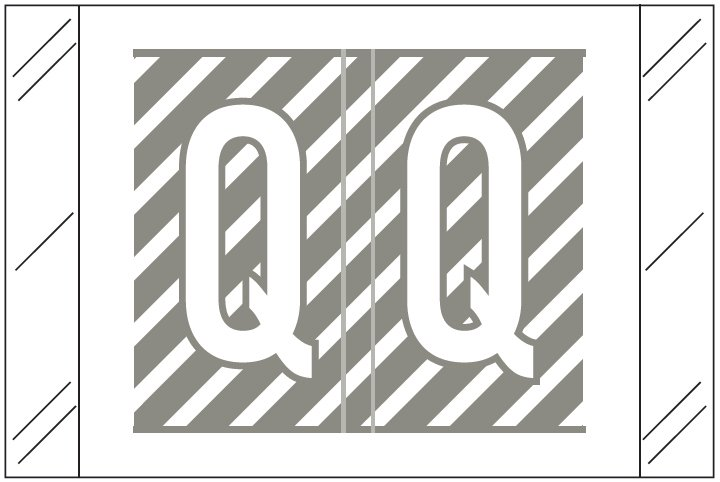 Barkley FASTM Match CTAM Series Alpha Roll Labels - Letter Q - Gray and White Label