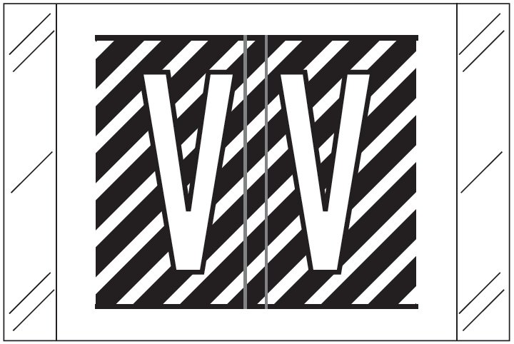 Barkley FASTM Match CTAM Series Alpha Roll Labels - Letter V - Black and White Label