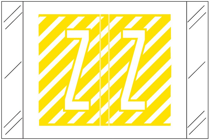 Barkley FASTM Match CTAM Series Alpha Roll Labels - Letter Z - Yellow and White Label