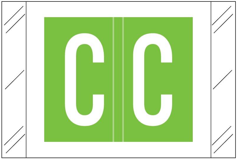 Tabbies 12030 Match CXAM Series Alpha Roll Labels - Letter C - Light Green Label