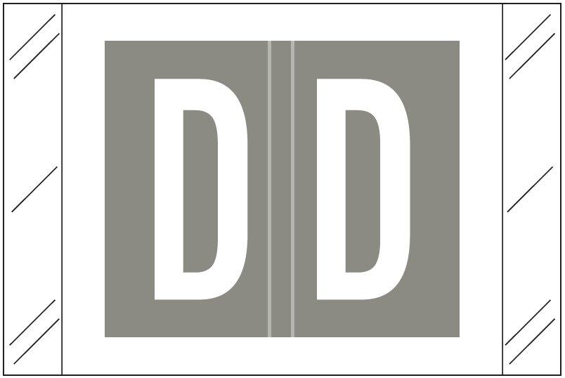 Tabbies 12030 Match CXAM Series Alpha Roll Labels - Letter D - Gray Label
