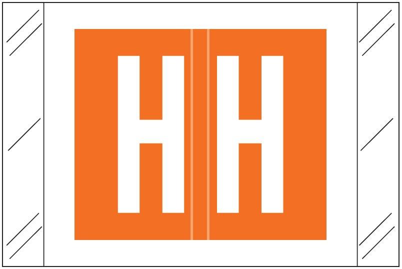 Tabbies 12030 Match CXAM Series Alpha Roll Labels - Letter H - Orange Label
