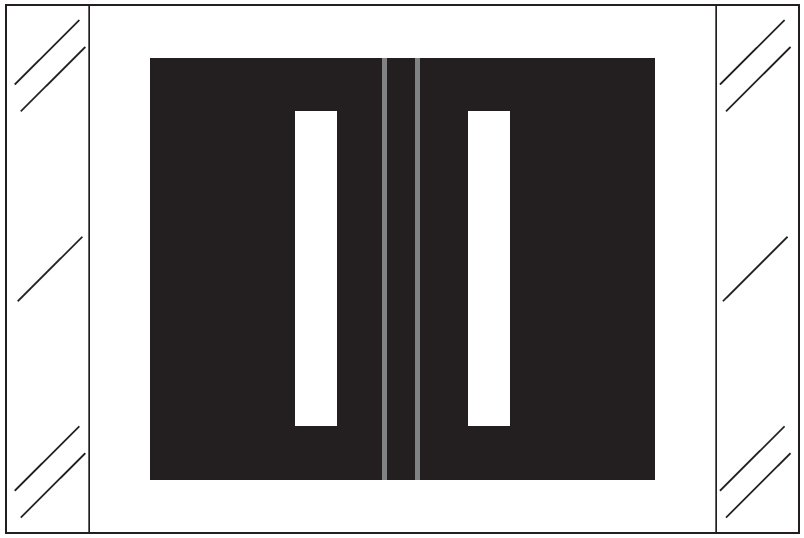 Tabbies 12030 Match CXAM Series Alpha Roll Labels - Letter I - Black Label