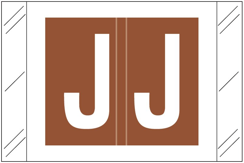 Tabbies 12030 Match CXAM Series Alpha Roll Labels - Letter J - Brown Label
