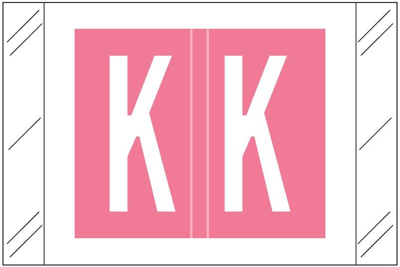 Tabbies 12030 Match CXAM Series Alpha Roll Labels - Letter K - Pink Label