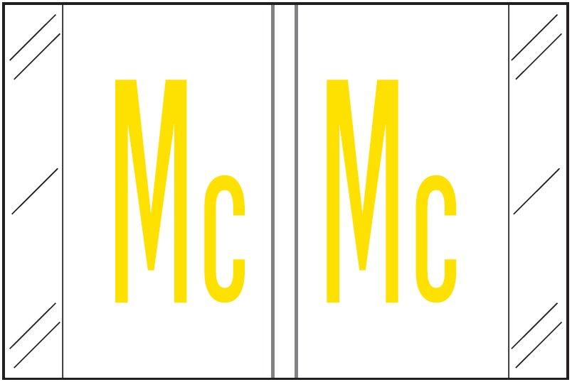 Tabbies 12030 Match CXAM Series Alpha Roll Labels - Letter Mc - White Label