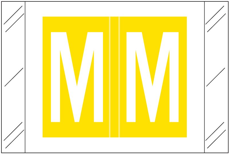 Tabbies 12030 Match CXAM Series Alpha Roll Labels - Letter M - Yellow Label