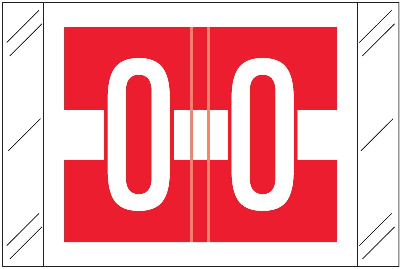 Tabbies 12030 Match CXAM Series Alpha Roll Labels - Letter O - Red and White Label