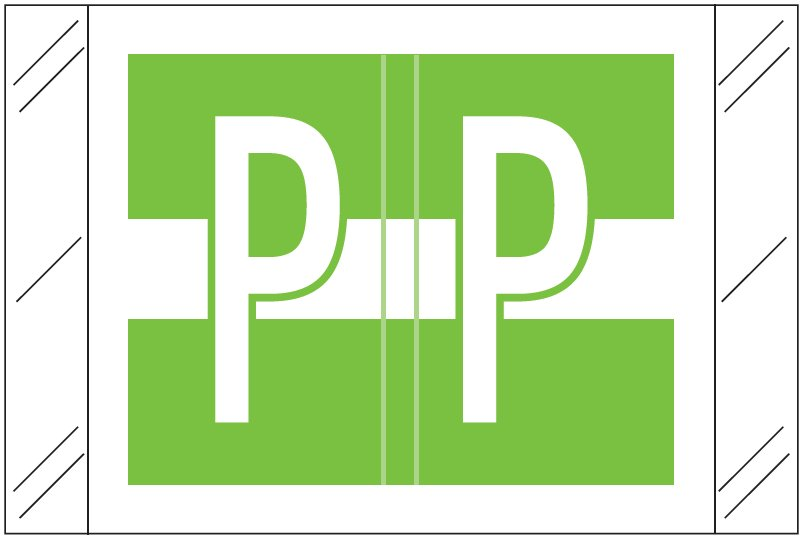 Tabbies 12030 Match CXAM Series Alpha Roll Labels - Letter P - Light Green and White Label
