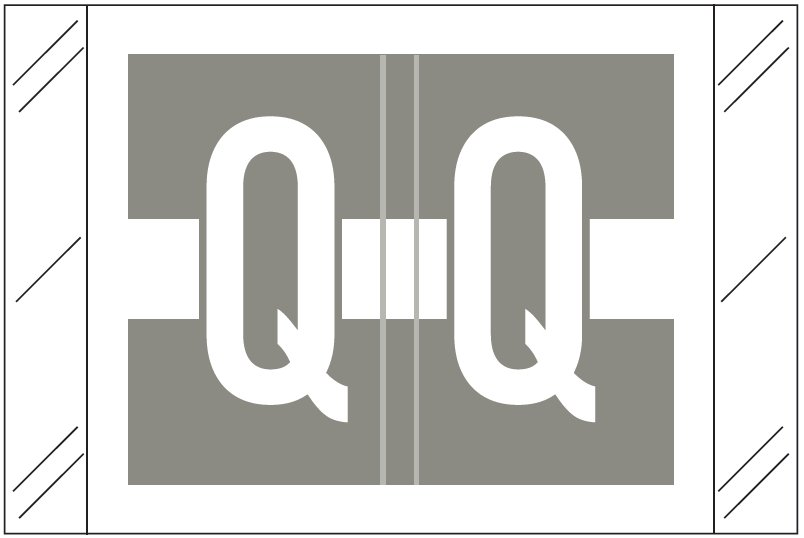 Tabbies 12030 Match CXAM Series Alpha Roll Labels - Letter Q - Gray and White Label