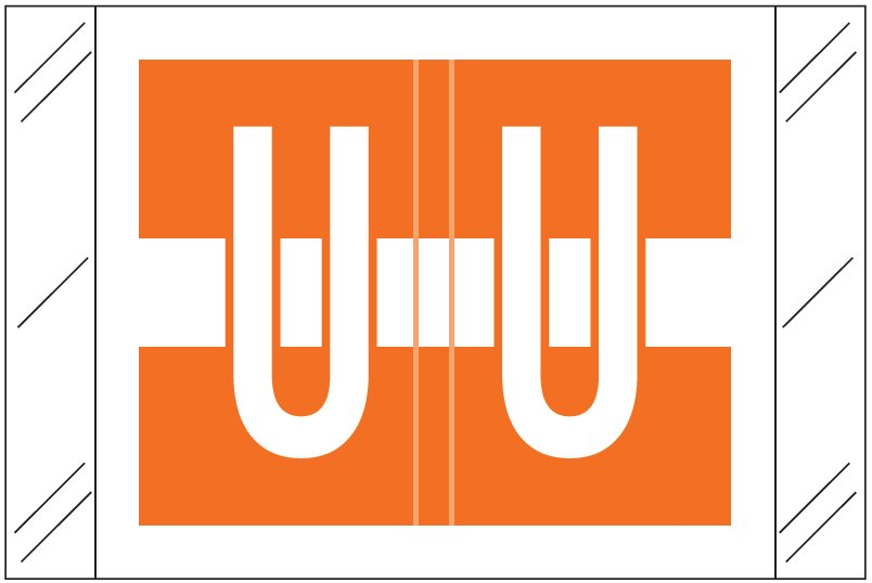 Tabbies 12030 Match CXAM Series Alpha Roll Labels - Letter U - Orange and White Label