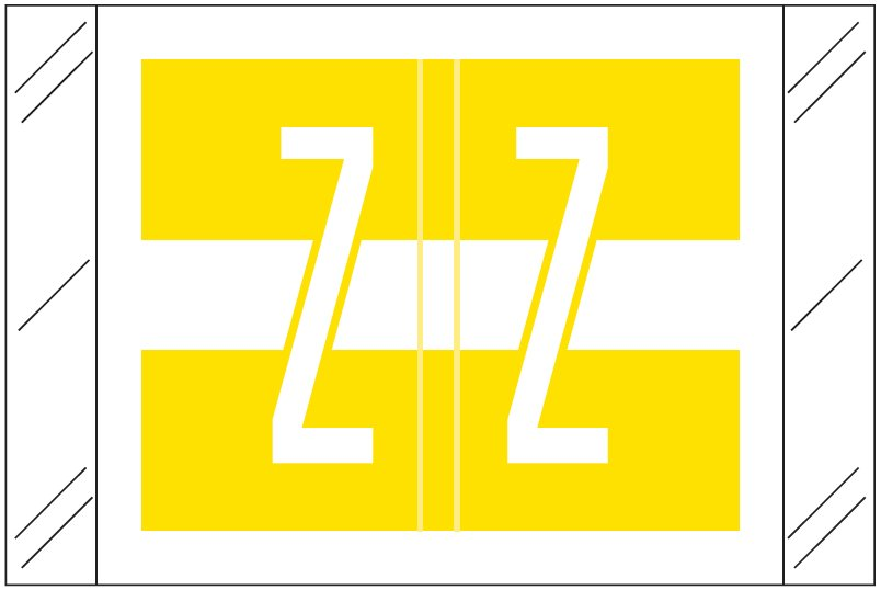 Tabbies 12030 Match CXAM Series Alpha Roll Labels - Letter Z - Yellow and White Label