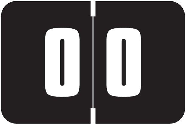 Digi Color Match DCNM Series Numeric Roll Labels - Number 0 - Black