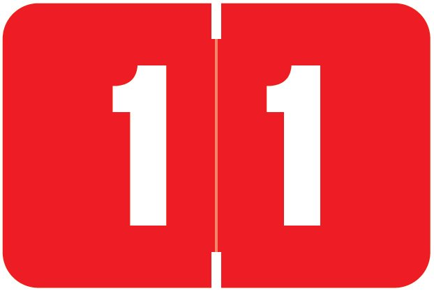 Digi Color Match DCNM Series Numeric Roll Labels - Number 1 - Red