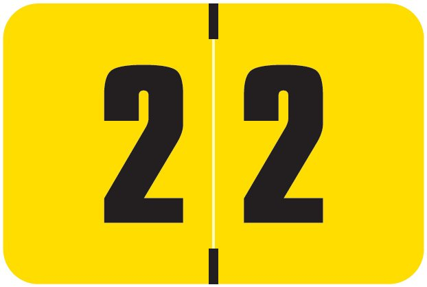Digi Color Match DCNM Series Numeric Roll Labels - Number 2 - Yellow