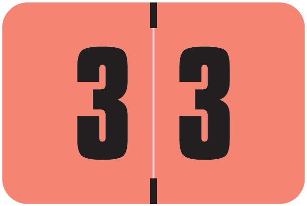 Digi Color Match DCNM Series Numeric Roll Labels - Number 3 - Pink