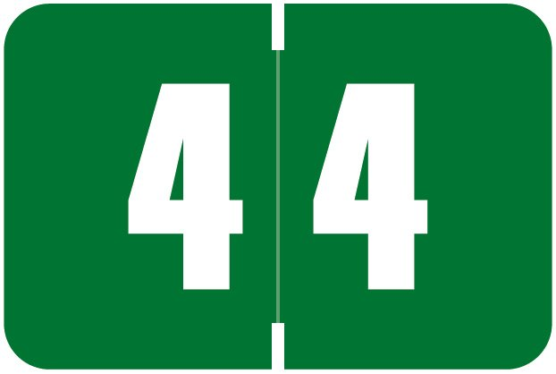 Digi Color Match DCNM Series Numeric Roll Labels - Number 4 - Green