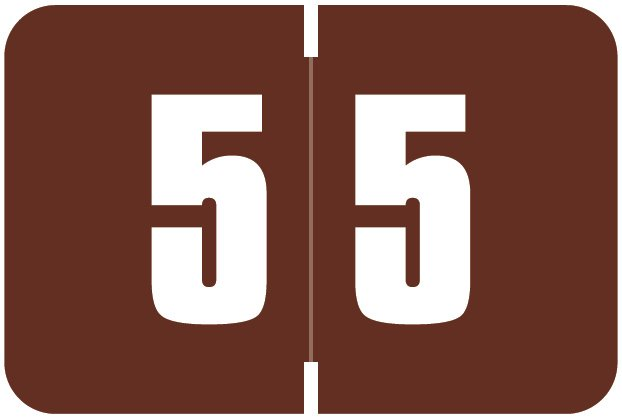 Digi Color Match DCNM Series Numeric Roll Labels - Number 5 - Brown