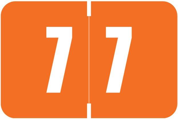 Digi Color Match DCNM Series Numeric Roll Labels - Number 7 - Orange