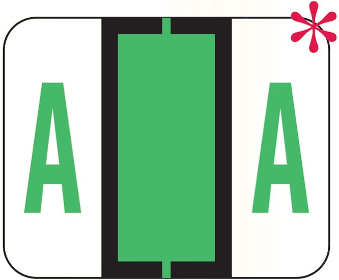 File Doctor Match FDAV Series Alpha Roll Labels - Letter A - Fluorescent Green