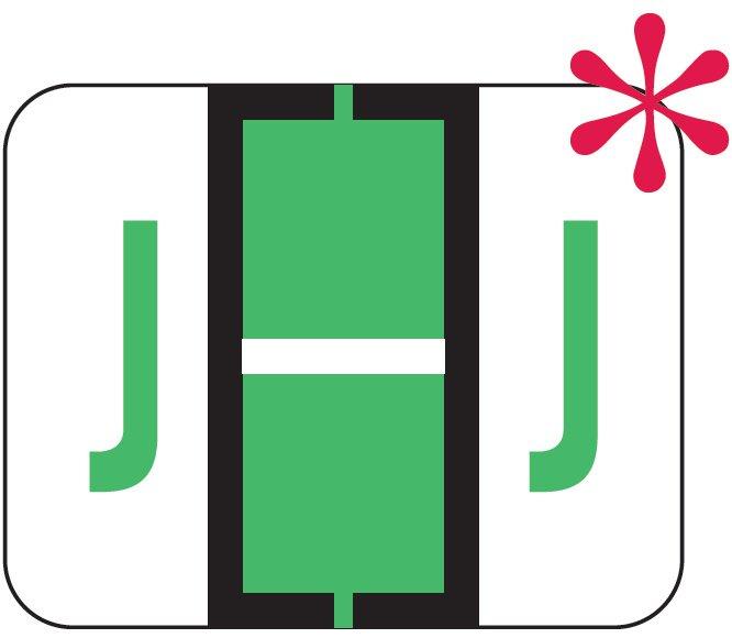 File Doctor Match FDAV Series Alpha Roll Labels - Letter J - Fluorescent Green