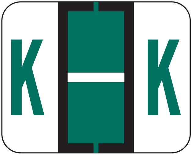 File Doctor Match FDAV Series Alpha Roll Labels - Letter K - Dark Green