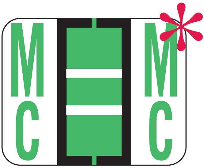 File Doctor Match FDAV Series Alpha Roll Labels - Letter Mc - Fluorescent Green