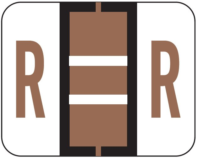 File Doctor Match FDAV Series Alpha Roll Labels - Letter R - Brown