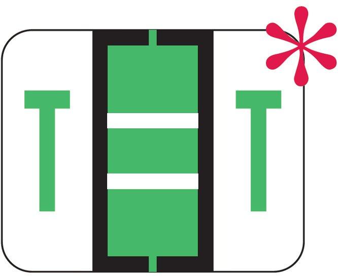File Doctor Match FDAV Series Alpha Roll Labels - Letter T - Fluorescent Green
